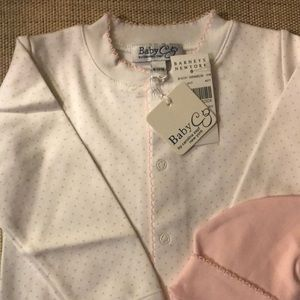 Baby CZ One Pieces - Baby CZ Pink/White Onesie and Matching Hat